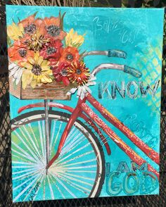 Mixed Media Canvas Word Art Bicycle and Flowers Be Still Know That I AM God. Psalms 46:10