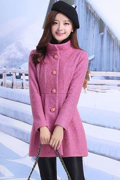 Captivating Pleated Woolen Coat - OASAP.com