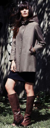 Tocca Gilbert Hooded plaid coat + Penny Lane panel dress