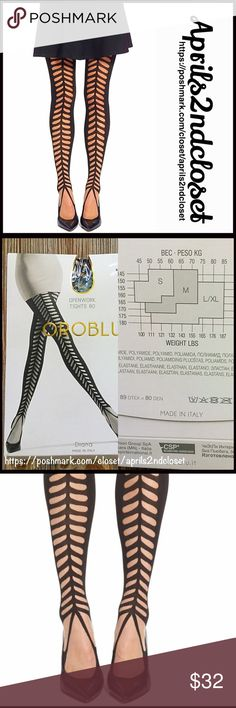 """❗️1-HOUR SALE❗️Italian BLACK TIGHTS Openwork 💟 NEW WITH TAGS 💟  Italian Made BLACK TIGHTS Openwork Pattern  * Comfortable, lightweight & high quality * Opaque black w/ cutout sheer pattern * Stretch-To-Fit * Size S, approx fits sizes 4'11""""- 5'5"""", 95 - 135 lbs  * Italian made  Fabric: 94% polyamide & 6% elastane Color: Black Item:  🚫No Trades🚫 ✅Bundle Discounts/Offers Considered*✅ *  Please use the blue 'offer' button to submit an offer Boutique Accessories Hosiery & Socks"""