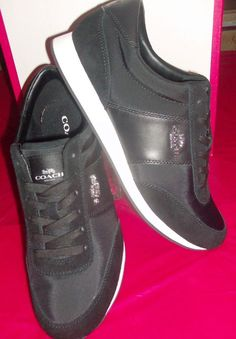 New Coach Suede Leather  amp  Mash Black Sneakers Athletic Shoes size 10B  10.5  Coach 7895dd9ce