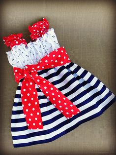 Anchors Aweigh Nautical 4th of July Boutique Dress Baby Toddler Girl's sizes 9mos to 8yrs. $42.00, via Etsy.