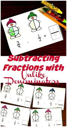 Grab these adorable snowmen to help children model subtracting with unlike denominators. They are a fun, visual way to practice this skill. Cute Snowman, Snowmen, Mental Calculation, Homeschool Math, Homeschooling, Toddler Schedule, Toddler Discipline, Parenting Teens, Hands On Activities