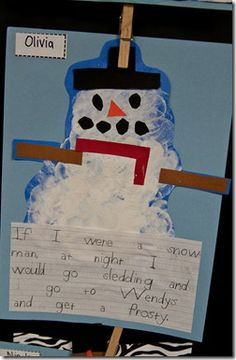 Read Snowmen at Night, followed with kids writing what they would do at night if they were a snowman