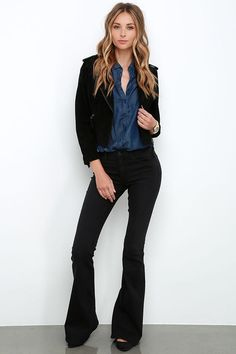 Jean Pool Washed Black Flare Jeans at Lulus.com!