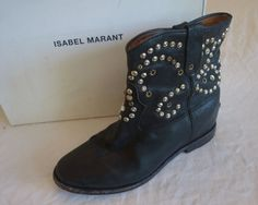 ~ ISABEL MARANT BLACK STUDDED LEATHER CALLEEN BOOTS / BOOTIES (MODEL FAVE) 37 #ISABELMARANT #BOOTS