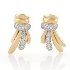 Estate Gold,Platinum and Diamond Earrings by Turi.  Available exclusively at Macklowe Gallery.