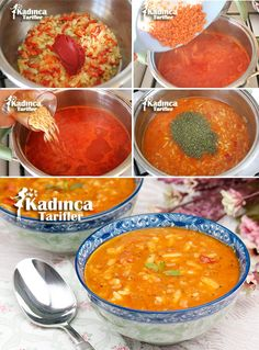 Red Lentil Soup Recipe with Barley Noodle, How To? – Womanly Recipes – Delicious, Practical and Delicious Food Recipes Site - Suppe Lentil Soup Recipes, Red Lentil Soup, Turkish Recipes, Italian Recipes, Ethnic Recipes, Turkish Kitchen, Greek Cooking, Recipe Sites, Fresh Fruits And Vegetables