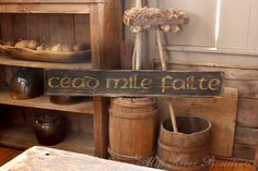 Early looking Long CEAD MILE FAILTE Wooden by MillRiverPrimitives