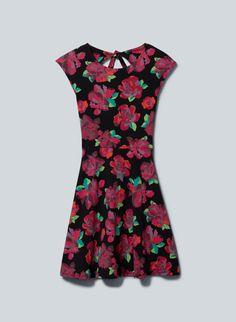 TALULA PALMETTO DRESS - A flared peekaboo-back jersey dress in a romantic rose print