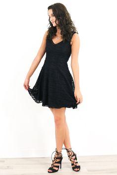 Starry Eyed Black Textured Lace Empire Waist Dress