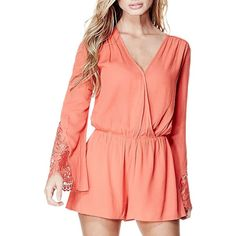 Guess Lace-Trimmed Bell-Sleeve Romper ($40) ❤ liked on Polyvore featuring jumpsuits, rompers, coral, long sleeve romper, long sleeve lace romper, surplice romper, long sleeve rompers and red long sleeve romper