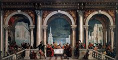 """VERONESE Paolo 1528-1588,However, the painting led to an investigation by the Roman Catholic Inquisition. Veronese was called to answer for irreverence and indecorum,and the serious offence of heresy was mentioned.He was asked to explain why the painting contained""""buffoons, drunken Germans,dwarfs and other such scurrilities""""as well as extravagant costumes and settings,in what is indeed a fantasy version of a Venetian patrician feast."""