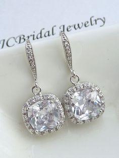 Wedding Earrings Bridal Earrings AAA Halo Clear by JCBridalJewelry, $44.95