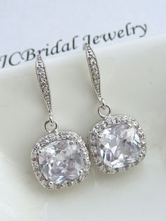 Wedding Earrings Bridal Earrings- AAA Halo Clear White Square Cubic Zirconia (Not Foiled Back) with White Gold Plated CZ Earings