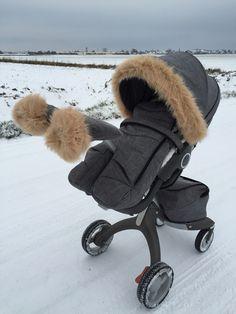 Nie wieder kalte Finger beim Spazieren: DIY Winter-Set für Kinderwagen STOKKE Xplory - Handmuff & Verdeck-Umrandung
