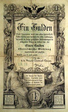 AUSTRIA 1 EIN GULDEN 07.07.1866 Money Paper, Old Coins, Peaky Blinders, Alter, Ephemera, Bond, Investing, Nostalgia, Stamp