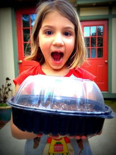 Plastic containers with clear lids get a second life as mini greenhouses.  Poke holes in bottom for drainage, fill with seed-starting mix then sow seeds, put lid on container and watch for seedlings.  Once the seedlings have sprouted, REMOVE the lid or you'll steam them to death.  Soon they'll be ready to transplant to their garden spaces.