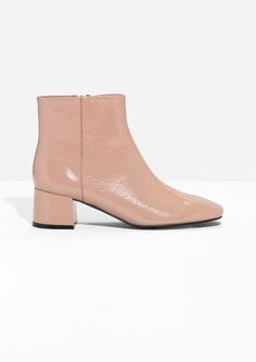 & Other Stories image 1 of Patent Leather Ankle Boots in Beige