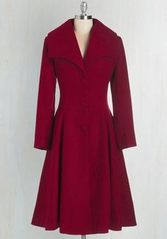 1930s style coat for winter. Intrigue All About it Coat in Crimson $169.99 AT vintagedancer.com