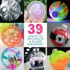 Christmas crafts homemade ornaments: 39 Ways To Decorate A Clear Plastic or Glass Ornament. 3d Christmas, Christmas Ornaments To Make, Christmas Balls, Homemade Christmas, Christmas Projects, Christmas Ideas, Christmas Decorations, Ornament Crafts, Holiday Crafts