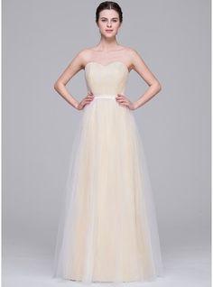 A-Line/Princess Sweetheart Floor-Length Tulle Wedding Dress With Ruffle