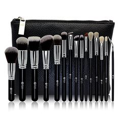 FEIYAN Makeup Brush Set Premium Natural Goat Hair Synthetic Cosmetic Professional Kabuki Makeup Foundation Blush Eyeshadow Concealer Powder Brushes Kit with Case (15 pcs, Silver Black ) * Be sure to check out this awesome product.