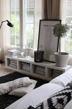 Minimalist shelf / bench. This could work with almost any decor.