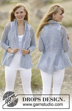 Crochet DROPS jacket worked in a circle with double crochet and lace pattern in Cotton Merino. Size S - XXXL. Free pattern by DROPS Design.