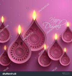 Vector Paper Diwali Diya (Oil Lamp). - 215510506 : Shutterstock