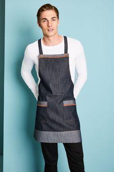 Blue Denim Bib Apron With Tan Trim - Simon Jersey Hospitality Uniforms Staff Uniforms, Work Uniforms, Bib Apron, Top Stitching, Kaftan, Blue Denim, Work Wear, Jeans, Fashion