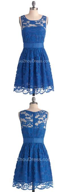 2014 Lace Homecoming Dresses Royal Blue Jewel Sleeveless Short Zipper Sheer Prom Gowns
