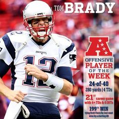 Tom Brady is the AFC Offensive Player of the Week for the 27th time in his career, tying Peyton Manning for the most in NFL history.