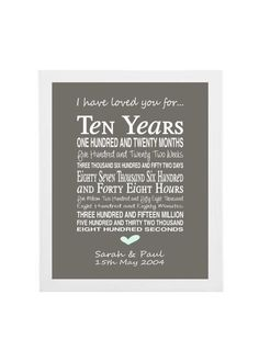 10th Anniversary Gift Personalised Print Present Typographic Tenth