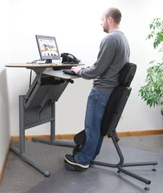 Stance Move Standing Chair More antique leather swivel desk chair Gone are the days when decorating was a a single-and-carried out deal. Standing Desk Chair, Best Standing Desk, Kneeling Chair, Standing Desks, Best Ergonomic Chair, Ikea, Stand Up Desk, Pierre Jeanneret, Adjustable Height Desk