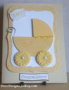 Handmade Yellow Pram New Baby Card £1.75 by Dees Designs on Folksy