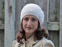 Adult Crochet Beanie Hat - Flower applique, White Chunky beret for women. $17 for Christmas