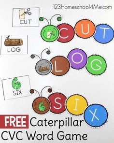 FREE Caterpillar CVC Words - this fun, free printable, hands on activity is sure to make practicing reading fun with a cvc activity - perfect for preschool, kindergarten, and first grade.