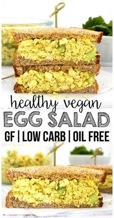 Vegan Egg Salad (Low Carb, Gluten Free, Oil Free) Spud greens would not tell myself Tofu Sandwich, Egg Salad Sandwiches, Vegan Sandwiches, Chickpea Salad Sandwich, Steak Sandwiches, Vegan Chicken Salad, Tofu Salad, Healthy Vegan Snacks, Vegan Foods