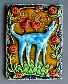 Lisa Muller handbuilt Earthenware clay work work....bird dog