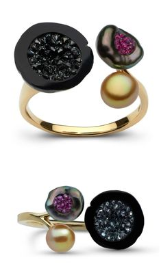 A three pearl ring with sliced Tahitian pearls, black diamonds, rubies, and a golden South sea keshi pearl. By little h.