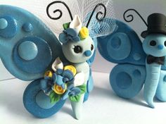 *POLYMER CLAY ~ Butterfly Love Wedding Cake Topper