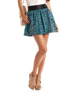 Satin Waist Velvet Leopard Skirt: Charlotte Russe