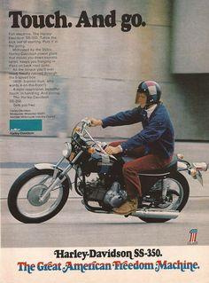 1973 Harley Davidson SS350 Motorcycle Ad