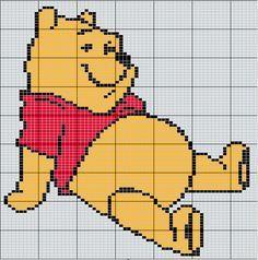 Winnie the Pooh Mini Cross Stitch, Cross Stitch Cards, Cross Stitching, Cross Stitch Embroidery, Crochet Diagram, Crochet Chart, Knit Or Crochet, Crochet Baby, Cross Stitch Designs