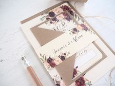 FLORAL BLOOM WEDDING INVITATION WITH MATCHING RSVP This beautiful Wedding Invitation is a lovely way to announce your Wedding to your guests. The invitation is available on its own, or with a matching RSVP, wrapped together with a personalized belly band. The stunning floral design