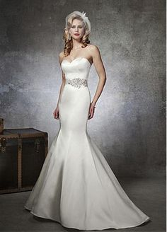 Chic Satin Sweetheart Neckline Trumpet Wedding Dress With Beads. I love the waist accentuation but with the dress itself had more embellishment