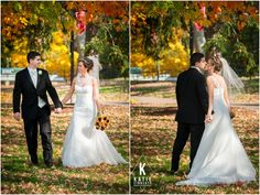 Love the colorful fall foliage in these wedding photos taken at Roberts Wesleyan College by Katie Finnerty Photography http://katiefinnertyphotography.com/