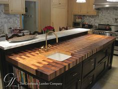 Butcher Block Countertop with Custom Interlocked Pattern
