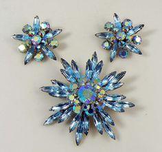 Vintage Judy Lee Blue Topaz Aurora Borealis Rhinestone Brooch Earring Demi Set - Vintage Lane Jewelry - 2